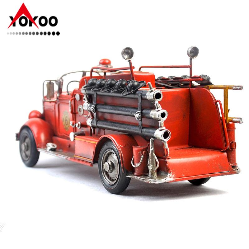 纯手工铁艺救火车模型 1925年麦克消防车模型 金属工艺品摆件
