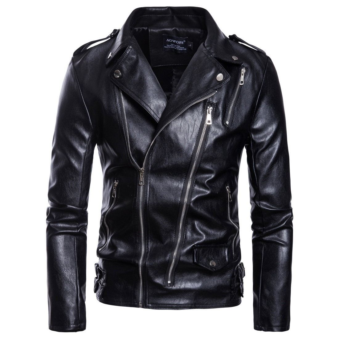 Sumitong men's autumn new style motorcycle large leather coat Dora chain leather jacket men's Korean version of lapel coat