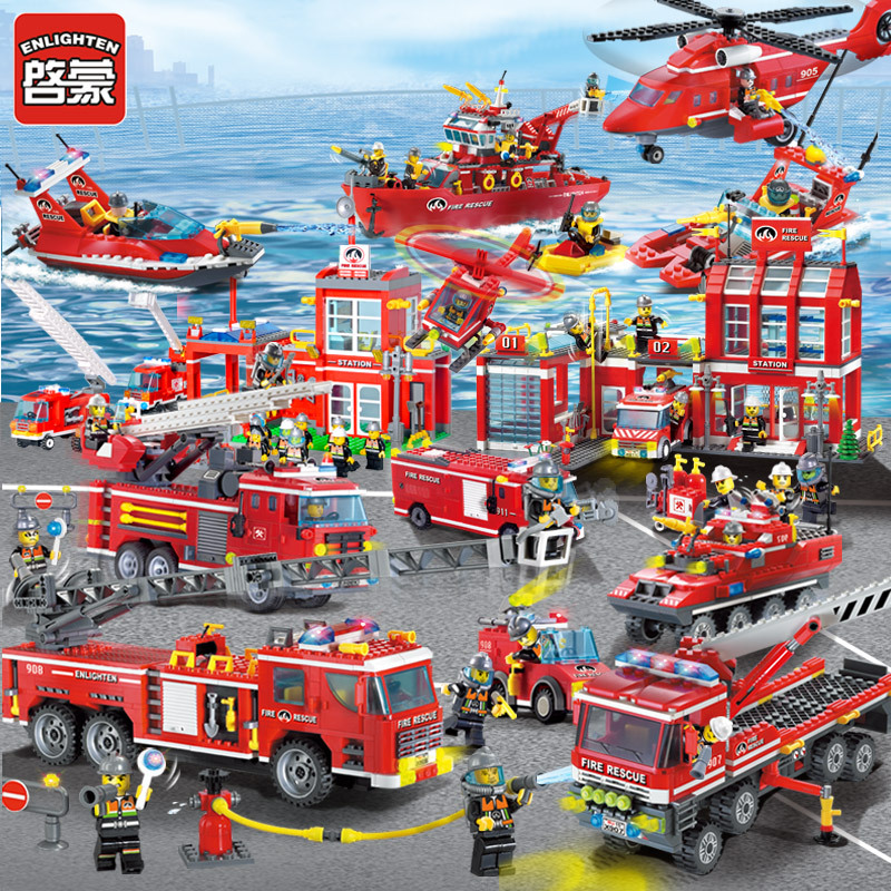 Enlightenment building blocks 911 fire engines assemble small particle children's toys 6 Yizhi 7 urban police 9 boys 10 years old