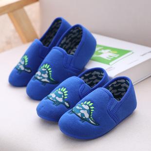 春秋新款棉布卡通男孩小恐龙家居鞋防滑室内棉布鞋单鞋儿童男童鞋