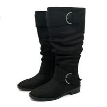 跨境欧美圆头平跟长靴正品女靴弹力过膝靴子女?#38386;?#27454;2018冬季ins