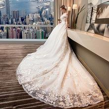 婚纱礼服2019新款欧美宫廷一字肩大码显瘦孕妇新娘公主梦幻长拖尾