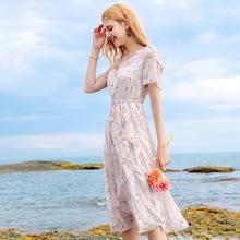 2020夏季新款女装喇叭袖荷叶边裙chic淑女印花雪纺连衣裙69197