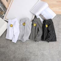 Зимняя одежда An Ma детские клетчатый сорочка длинный рукав на мальчика замшевый рубашка полосатый принт Дикий прилив детские удерживающий тепло верх одежда