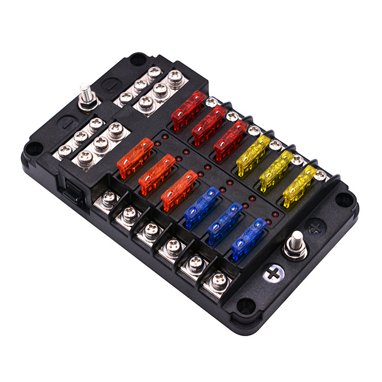 跨境新品汽车保险丝盒电源插片式 1进12路保险丝盒座带LED指示灯