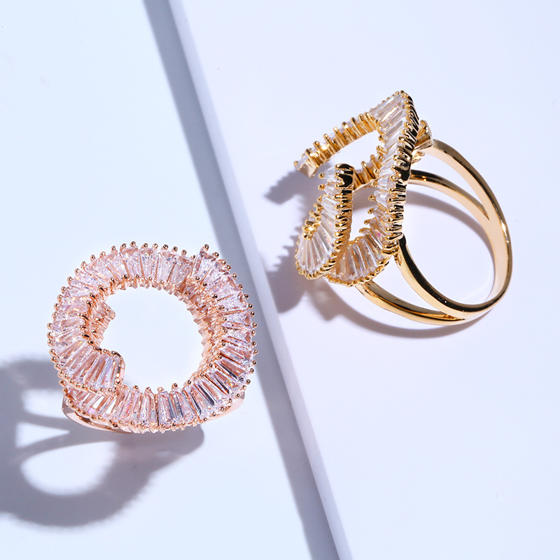 Copper Simple Geometric Ring  Alloy  Fine Jewelry NHAS0010Alloy