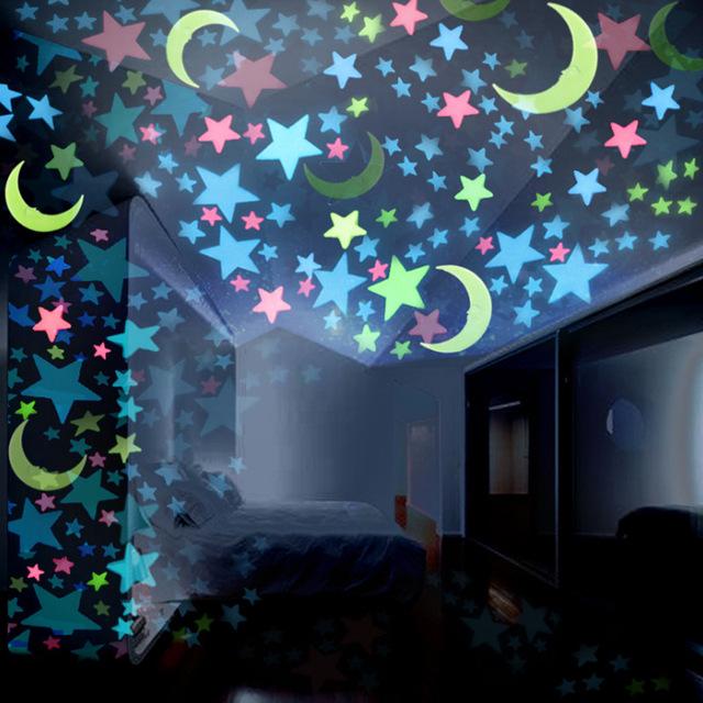 亚马逊3CM夜光星星墙贴100pcs/包卧室沙发荧光塑料装