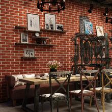 3D立體復古仿磚紋磚塊自粘墻紙奶茶店餐廳網咖仿古磚帶背膠壁紙