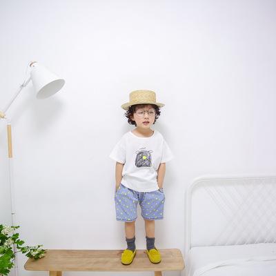 韩版男女童宝宝一件代发抽象小狗狗汗衫夏款短袖全棉中小童印花T
