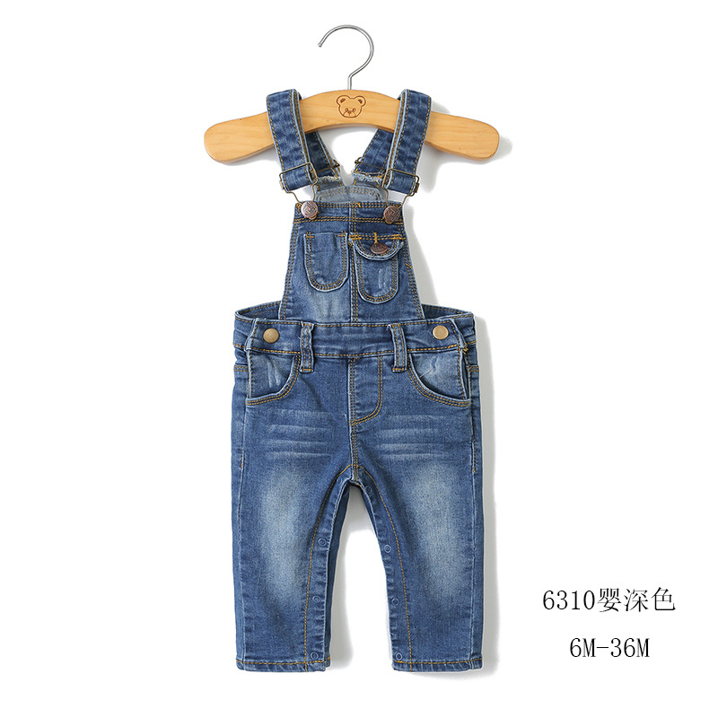 Children's clothing new 2018 tide boys and girls baby bib pants European and American style infant cowboy 6 months -3 years old