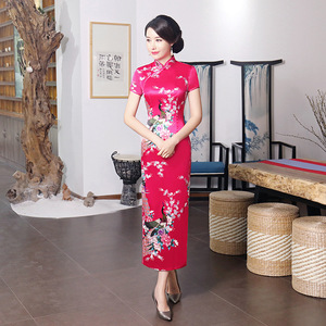 Chinese Dress Qipao for women cheongsam dress Long Satin printed banquet dress
