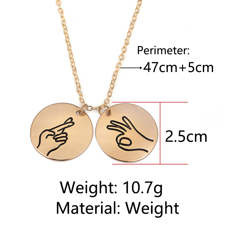 New handmade sign language round card item I love you hand pendant friends sisters girlfriends necklace NHDP187610