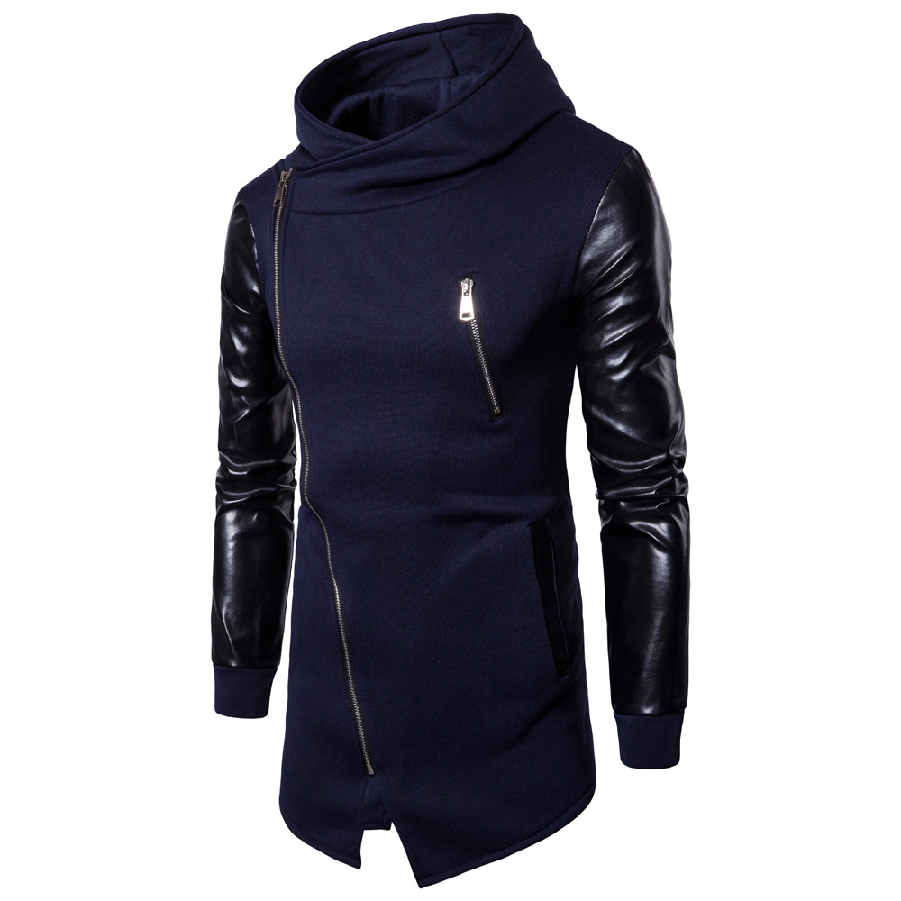 Quick sell European men's spring and autumn new casual sleeve leather jacket men's Korean men's zipper sweater