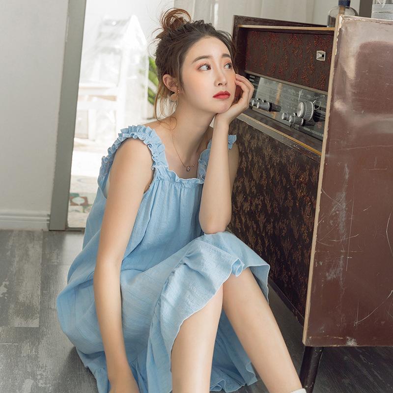 夏季睡衣2019新款睡裙宽边吊带中长款全棉睡衣女家居服一件代发