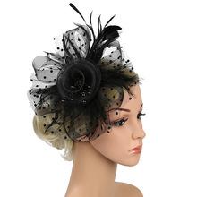 歐美頭飾復古新娘發飾羽毛頭花加珠花朵網紗發箍百搭禮服旗袍配飾
