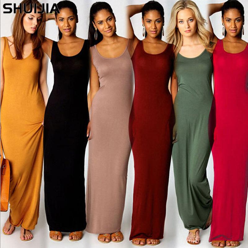 亚马逊wish爆款女装20色5码优雅性感背心长裙时尚连衣裙ebay爆款