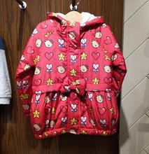特价现货17冬款小熊漂亮女童满印连帽棉服PCJA74942M
