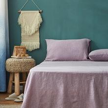 石磨亚麻砂洗床单三件套 软凉席