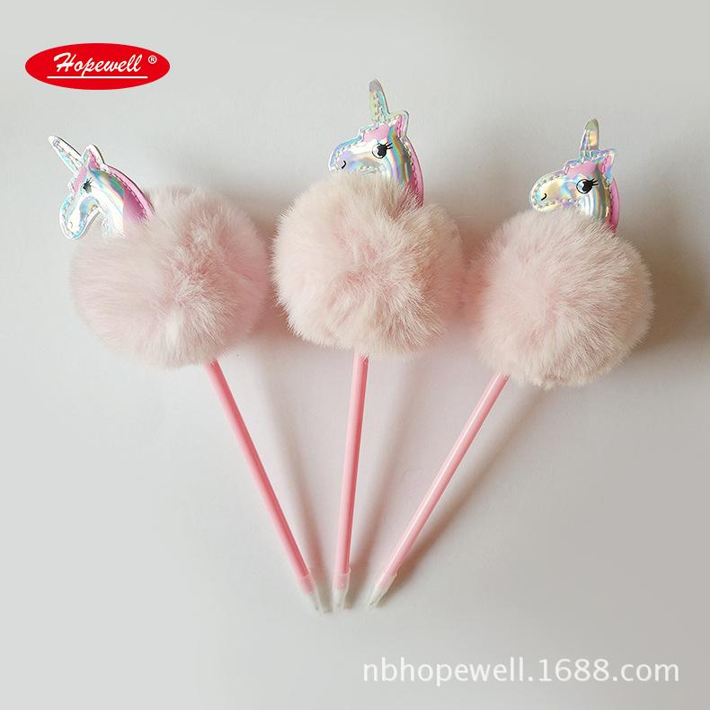 厂家直供彩色毛球圆珠笔 彩色毛绒独角兽创意圆珠 卡通圆珠笔