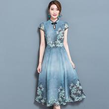 S到3X現貨 實拍新款修身印花復古連衣裙立領顯瘦雪紡大擺裙