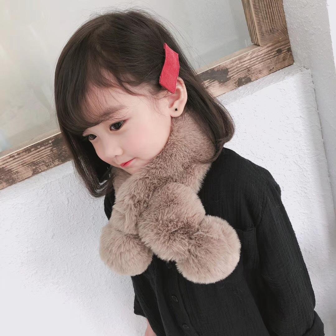 韩国新款纯色仿兔毛双球长毛围巾秋冬毛茸茸保暖白搭可爱宝宝围脖