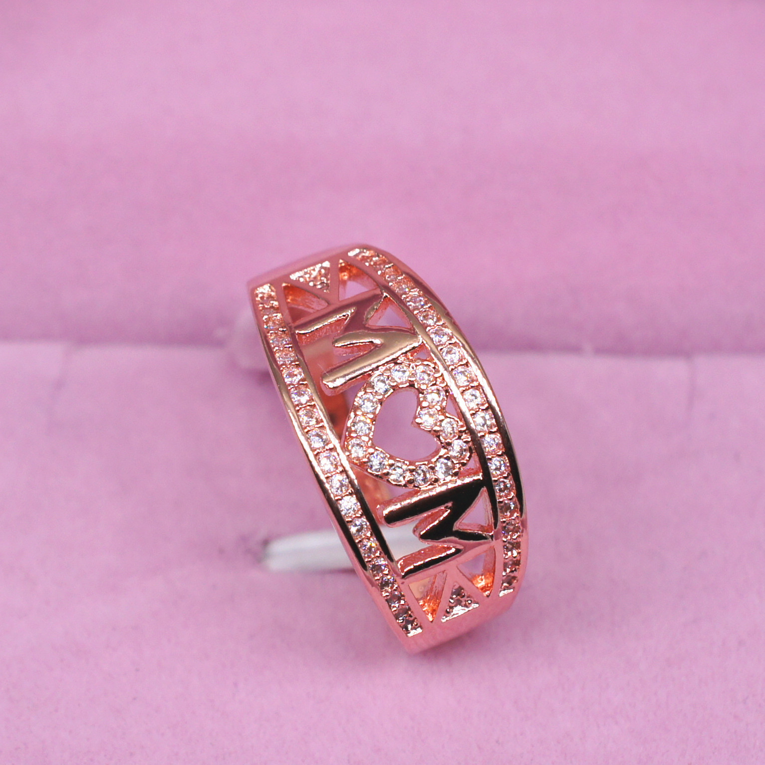 Mother\'S Day Gift Mom Ring Plated With 18k Platinum Diamond Ring For ...