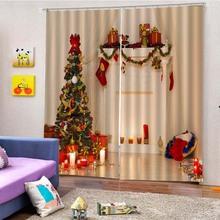 創新加厚圣誕窗簾 不退色陽臺裝飾窗簾 環保不退色防水窗簾