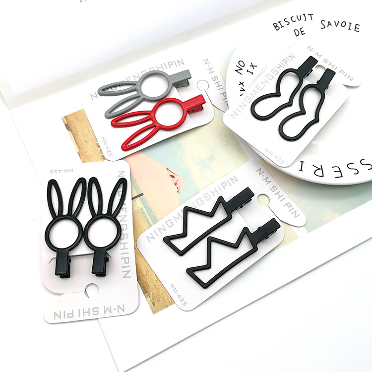 Metal frosted crown duckbill clip cartoon long ear rabbit hair clip cute wild bangs hairpin NHSA201166