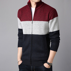 best autumn new men's color matching long-sleeved sweater cardigan stand collar large size sweater