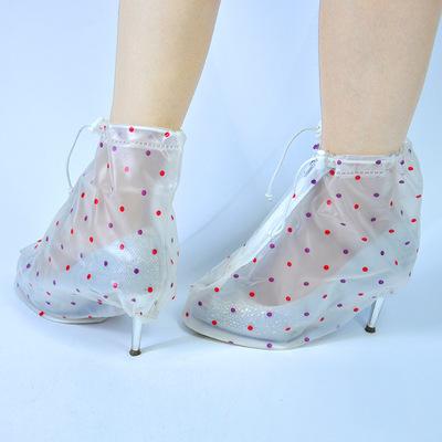 厂家直销女士加厚高跟防水鞋套 时尚带印花女士专用防雨鞋套