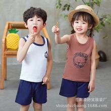 2018新款夏季兒童背心短褲套裝中小童休閑套裝家居服2-10歲