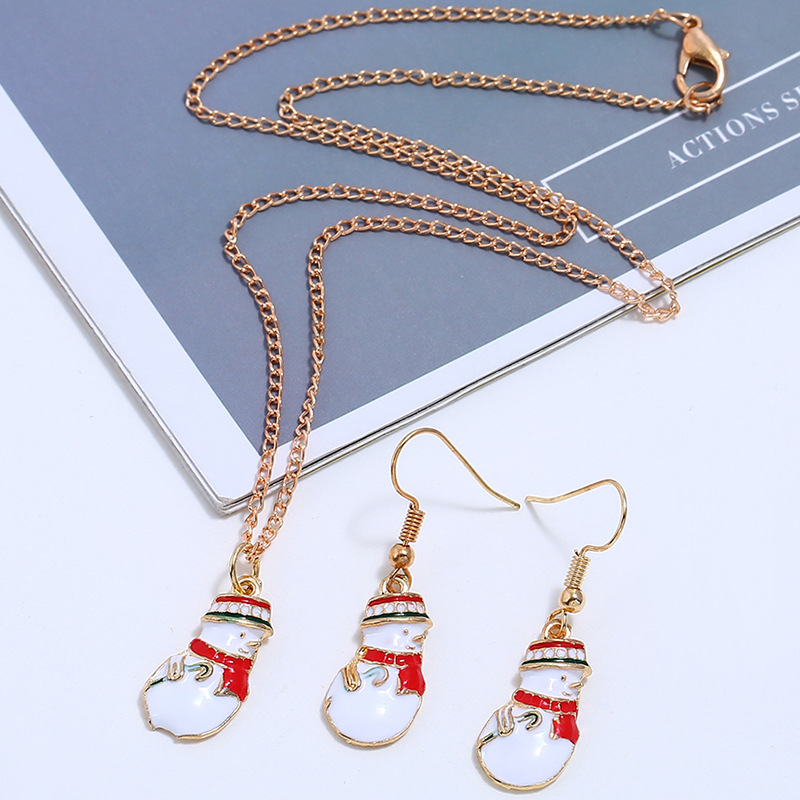 New Jewelry Cute Cartoon Color Christmas Snowman Gift Earring Necklace NHKQ175981