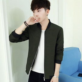 Casual Jacket Small Size Jacket Men's Code Trend Stand Collar Baseball Suit Solid Color Wear Long Sleeve Jacket Autumn