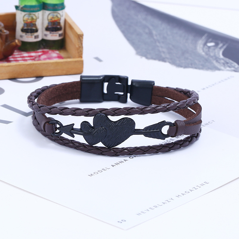 Leather Fashion Geometric bracelet  (black) NHPK2103-black