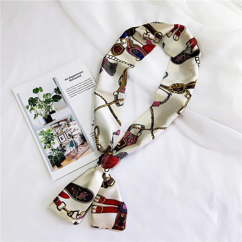 Korean fashion decorative satin long scarf NHMN138606