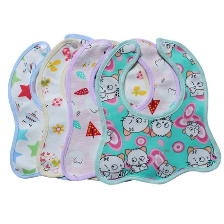 Mới bé bib phim hoạt hình bông snap-on chống nước chống bẩn bé bib bé in khăn nước bọt