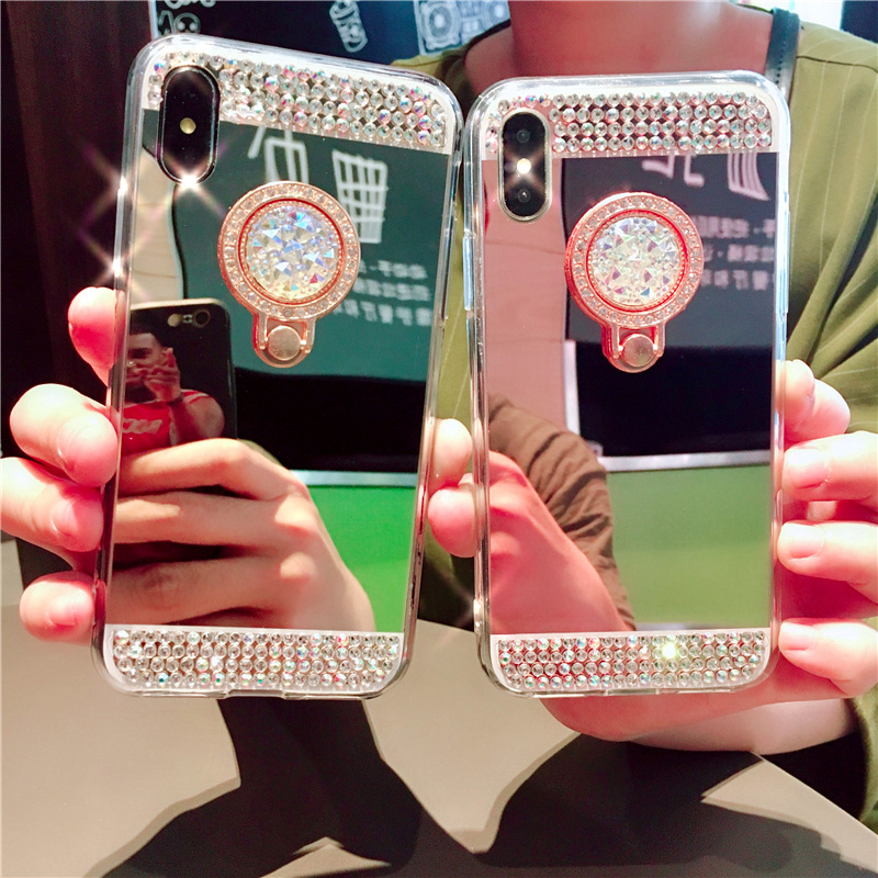 NOTE9 diamond-plated mirror ring ring bracket phone case for iPhoneXR Apple 8plus Samsung S10