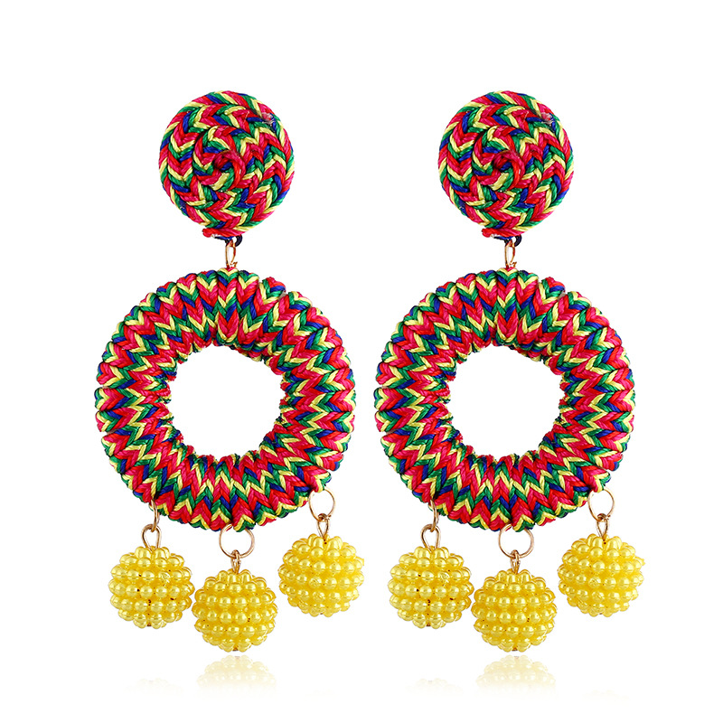 Fashion rice beads woven multilayer earrings NHVA142119