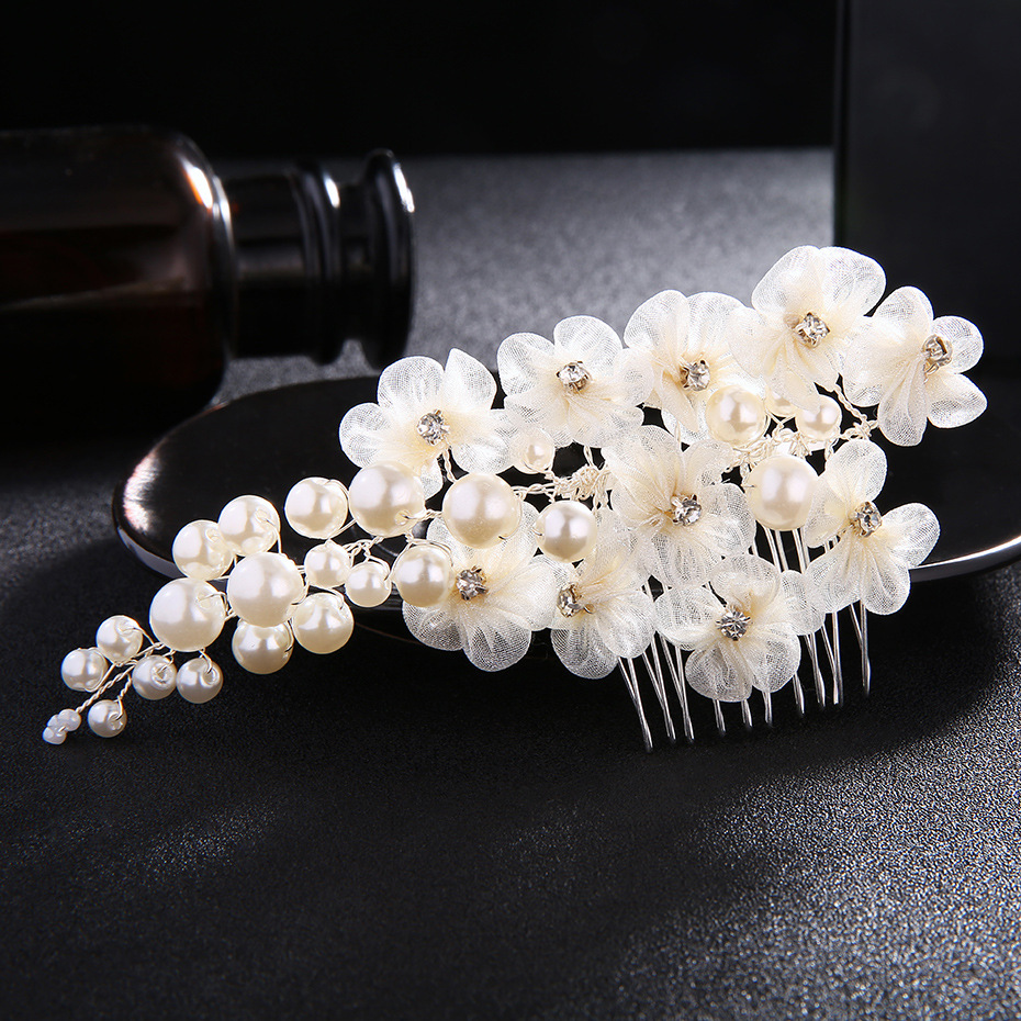 Beads Fashion Flowers Hair accessories  (white) NHHS0222-white