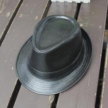 卷边爵士帽 黑色百搭小礼帽户外休闲绅士帽欧美潮流复古英伦帽子