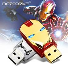 鋼鐵俠USB閃存驅動器記憶棒u盤鐵人U盤人頭U盤8GB 16GBLED神器