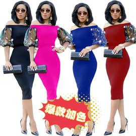 A3003速卖通亚马逊欧美女装热销爆款一字肩刺锈网纱包臀连衣裙