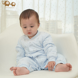 Autumn and winter cotton newborn clothes 600th imitation feather cotton quilted warm 0-1 years old baby one-piece cotton coat