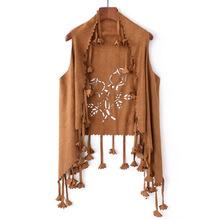 欧美新款麂皮绒后背烧花镂空叶子流苏开衫无袖披肩外套女