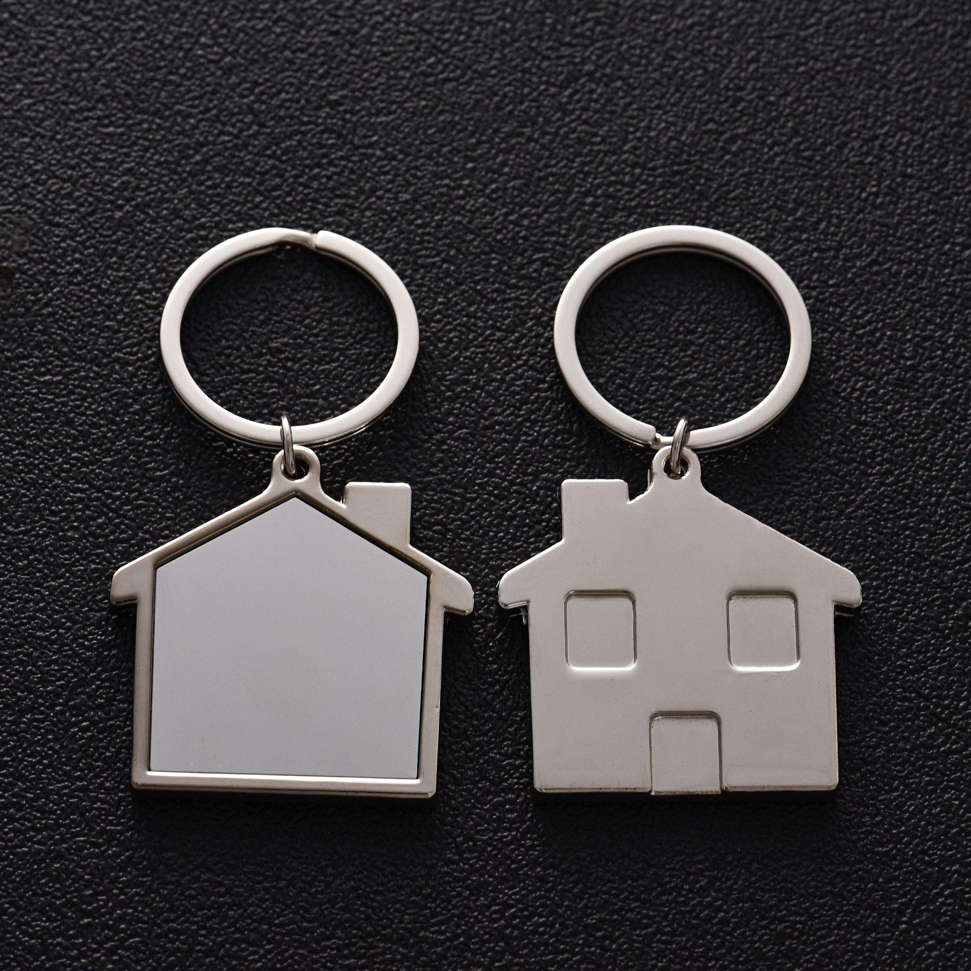 创意可爱小房子钥匙扣汽车金属钥匙圈钥匙链商务小礼品定制LOGO