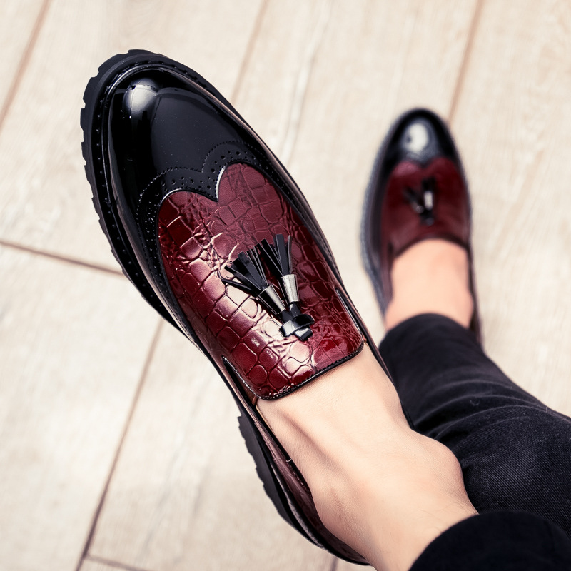 2018 New Brock Color Matching Tassel Shoes Bright Leather Fashion Set Foot Lok Fu Shoes Hair Stylist Personality Men's Shoes