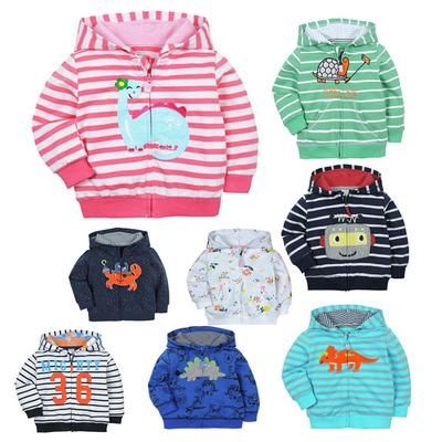 跨境婴幼儿绣花毛圈棉连帽卫衣纯棉儿童长袖外套男女宝宝全棉上衣