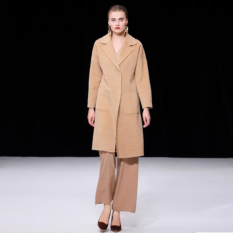 呢大衣 女2018双面羊绒大衣女显瘦中长款阿尔巴卡大衣毛呢外套女