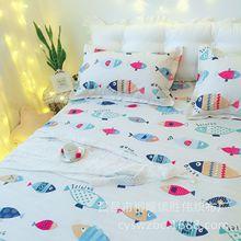 一件代发老粗布三件套纯棉床单亚麻凉席床上用品全棉枕套批发