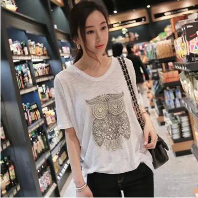 韩国2019新款春夏大码女装宽松短袖T恤猫头鹰刺绣竹节棉上衣女薄